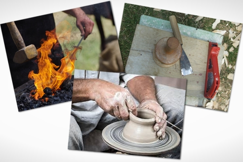 Wood Sculptor, Blacksmith & Pottery Demos
